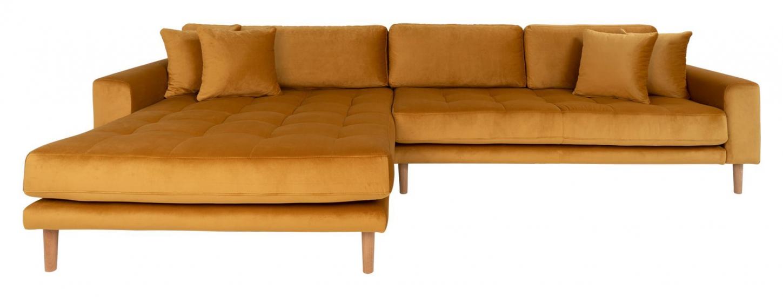 Lido Lounge Sofa m, venstrevendt sjeselong - Sennepsgul Velour