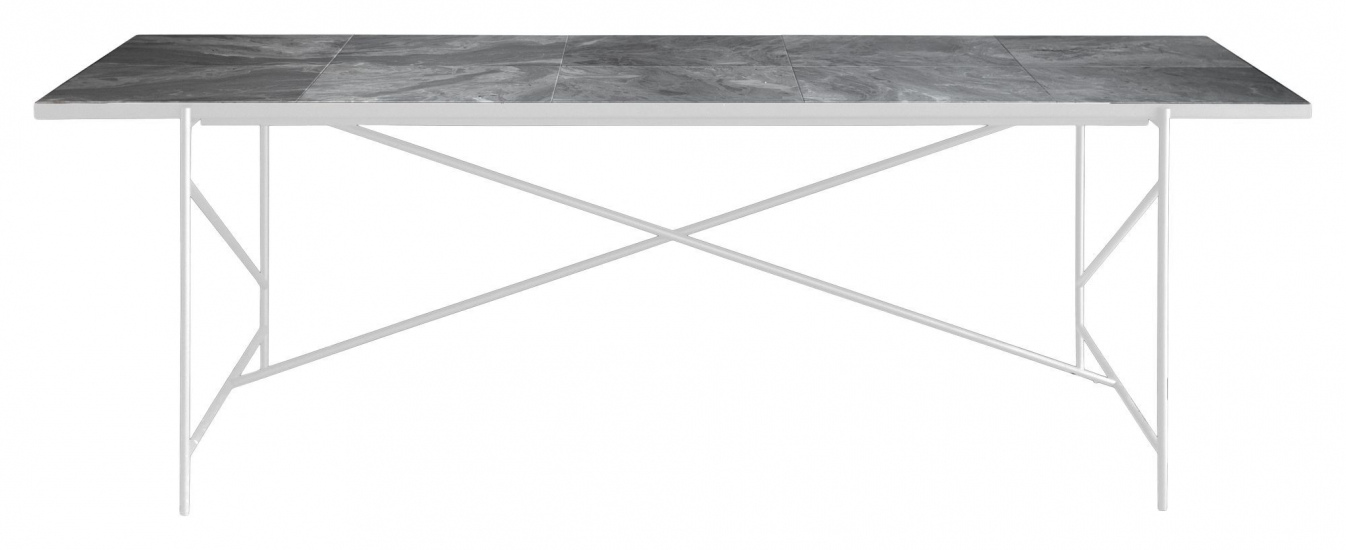 HANDVÄRK Spisebord 230x96 m. hvid ramme - Grå marmor