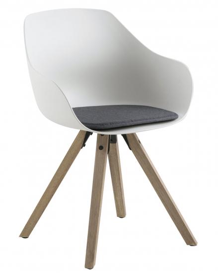 Tina Spisebordsstol hvit plastikk - Lysegrå pute