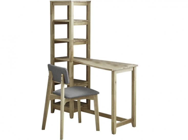 Aileen skrivebord m. Reolopsats og stol - Grå/Natur