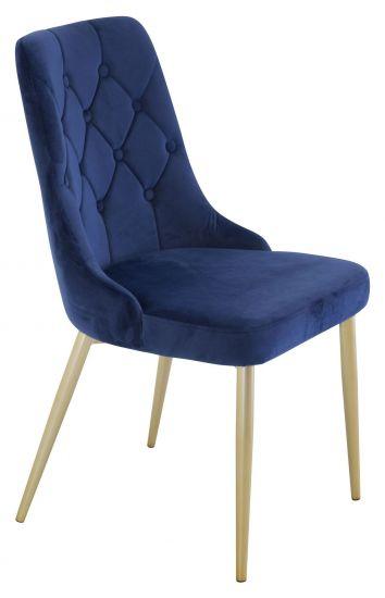 Velvet Deluxe Spisebordstol, Blå Velur