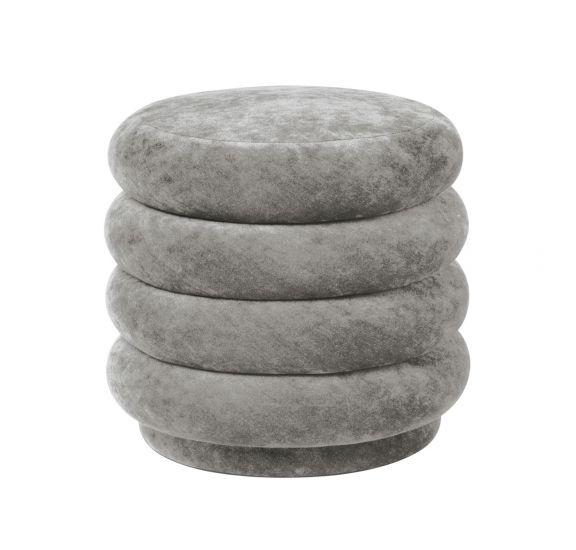 Ferm Living - Pouf Rund - Faded concrete velour - Small