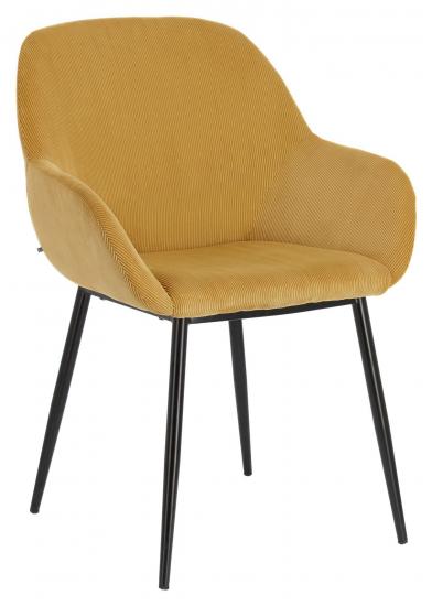 Kave Home Konna Spisebordstol - Mustard Fløyel