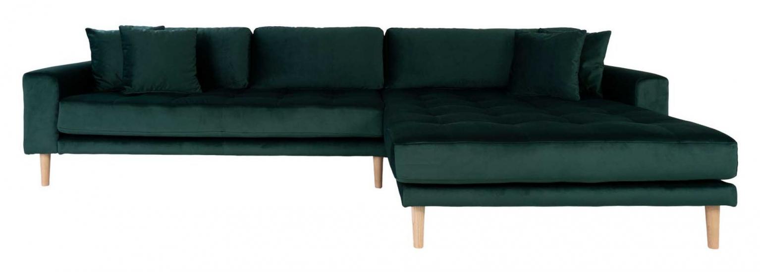 Lido Loungesofa m, Høyrevendt Sjeselong - Mørkegrønn Velour