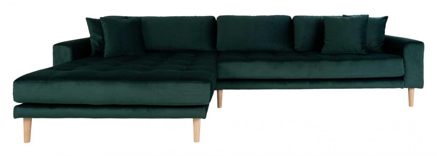 Lido Loungesofa m, Venstrevendt Sjeselong - Mørkegrønn Velour
