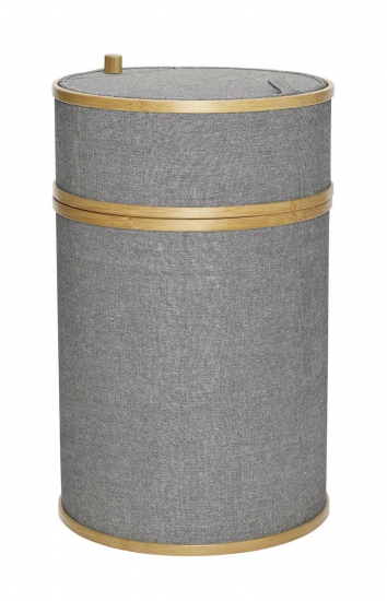 Hübsch Vasketøjskurv Ø38m - Bambus/Grå stof