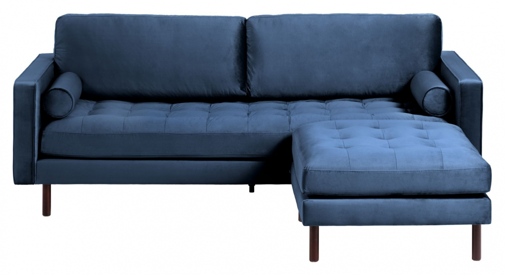 Kave Home Debra 3-pers. Sofa m. Puff - Blå Velour