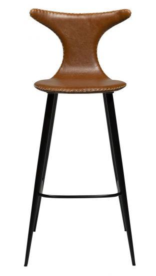 Danform - Dolphin Barstol, vintage lysebrun kunstlæder, runde sorte ben
