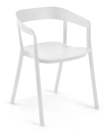 Laforma - Niels Spisebordsstol m. armlæn - Mat Hvid