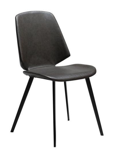 DAN-FORM - Swing Spisebordsstol, vintage grå kunstskinn, svarte ben