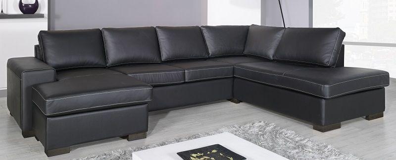 Costa Sofa med sjeselong - Sort skinn