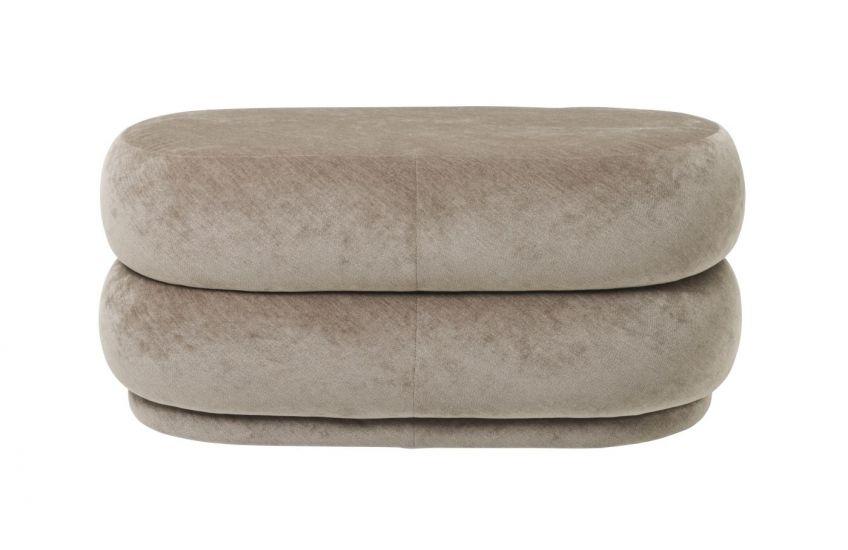 Ferm Living - Pouf Oval - Faded beige velour - Medium