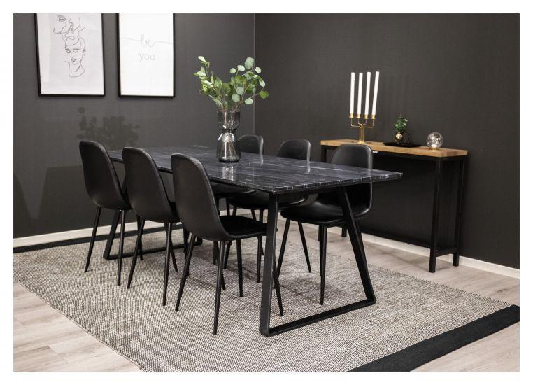 Estelle Spisebord, Grå marmor, 90x200