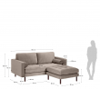 Kave Home Debra 2-pers. Sofa m. Puff - Taupe Velour