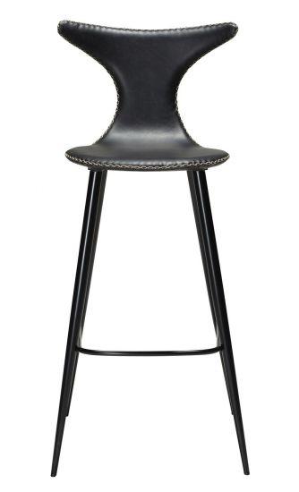 Danform - Dolphin Barstol, vintage sort kunstlæder, runde sorte ben