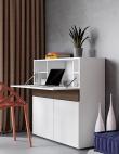 Temahome Focus Workstation - Mat Hvid/Valnød