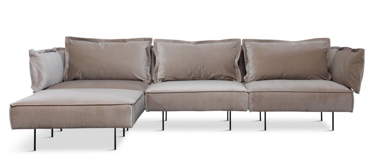 HANDVÄRK - Modular 3-pers. Sofa m/chaiselong - Sandfarvet velour