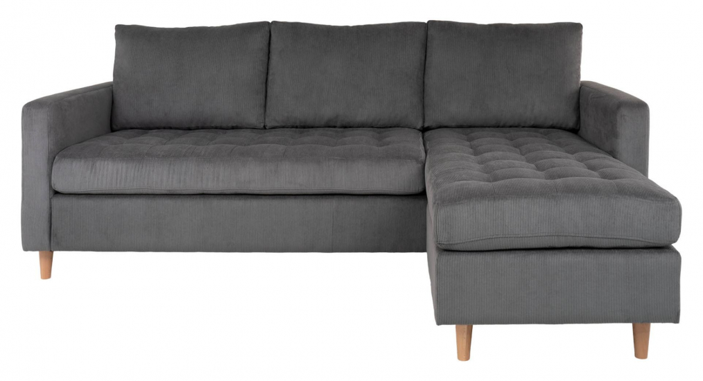 Firenze Sofa m, Flyttbar Sjeselong - Mørkegrå Fløyel