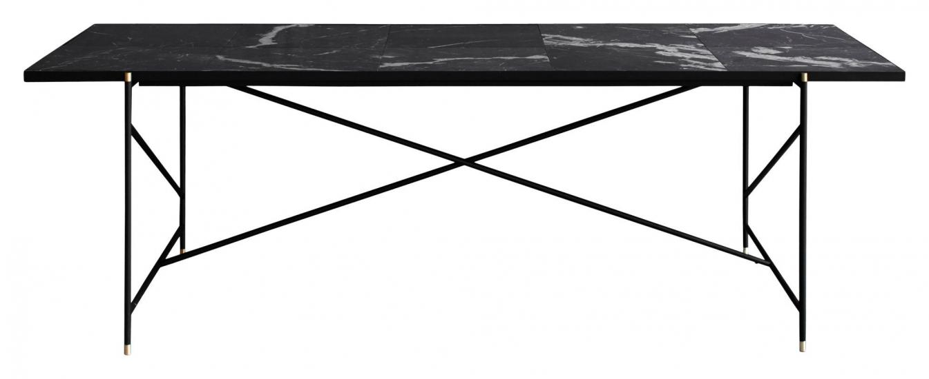 HANDVÄRK - Spisebord - Svart Marmor m/messing ramme - 96x230