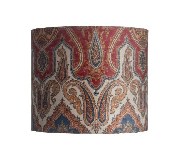 Ebb&Flow - Lampeskjerm, brocade, blue/red, Ø35, bordlampe