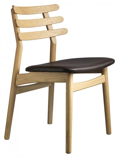 FDB Møbler J48 Spisebordstol - Eik/Brun Skinn