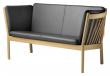 FDB Møbler J148 2-pers, Sofa - Eik/Sort Skinn