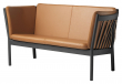 FDB Møbler J148 2-pers, Sofa - Sort Eik/Cognac Skinn