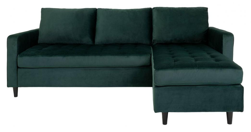 Firenze Sofa m, Flyttbar Sjeselong - Mørkegrønn Velour