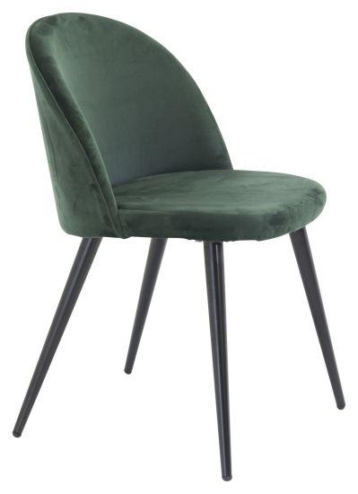 Velvet Spisebordstol, Grønn Velur