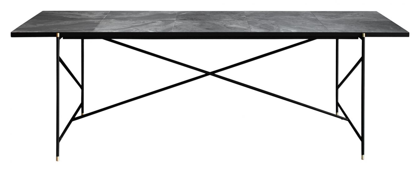 HANDVÄRK Spisebord 230x96 m. messing detaljer - Grå marmor