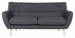 Monte 3-pers, Sofa - Mørkegrå med Treben