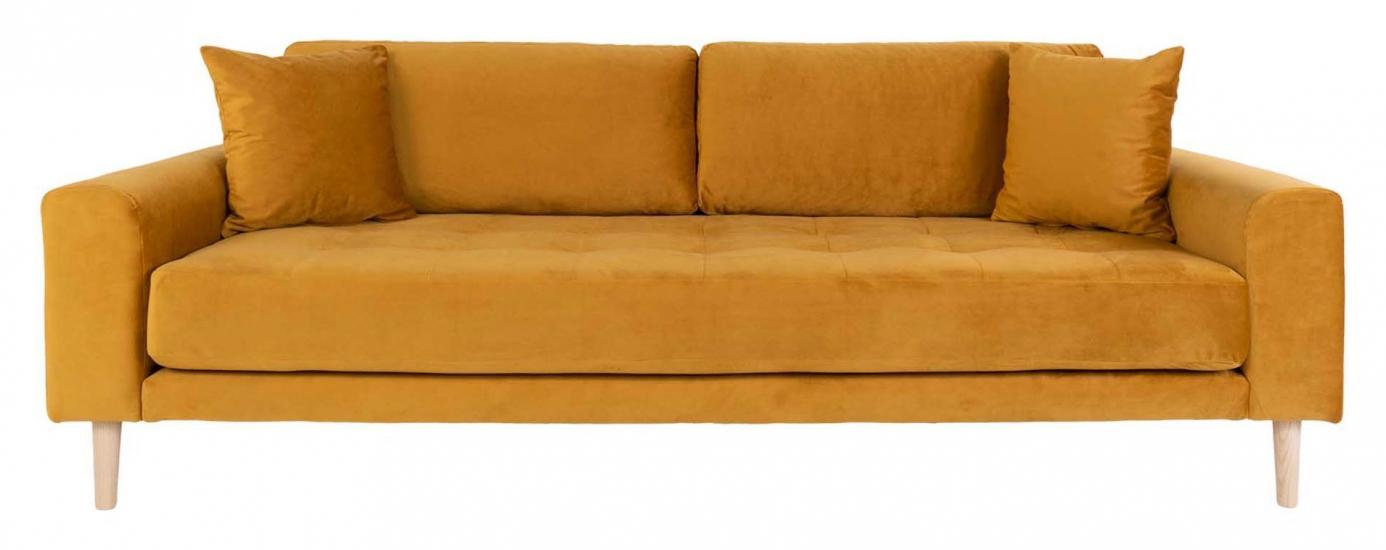Lido 3-pers, Sofa - Sennepsgul Velour