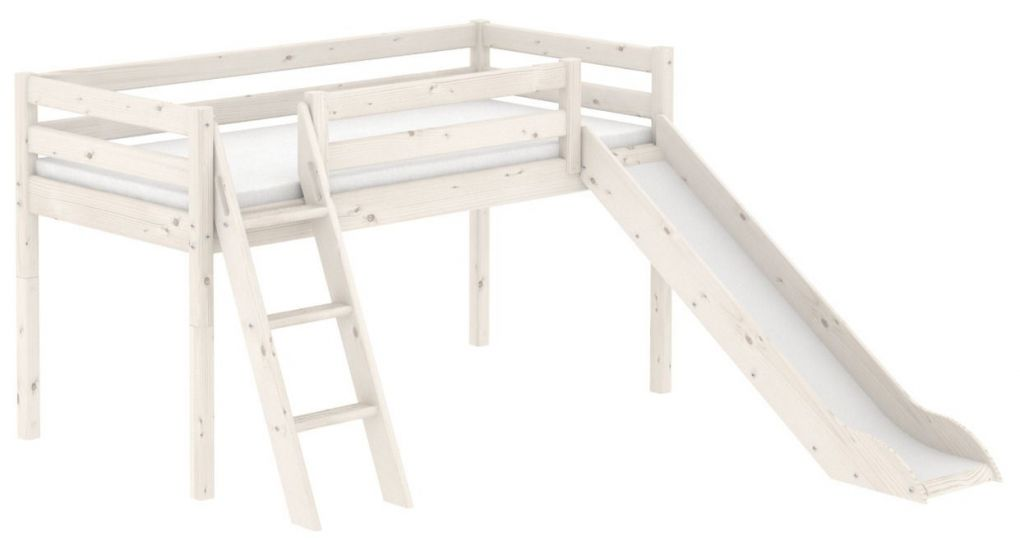 Flexa Classic Halvhøj seng m. slide - hvid