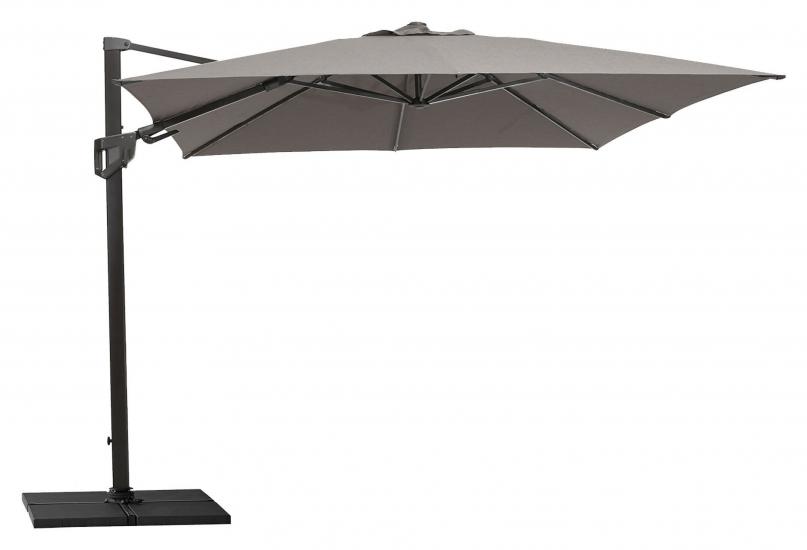 Cane-line Hyde luxe tilt parasoll inkl. fot, 3x3 m, Grey, aluminium