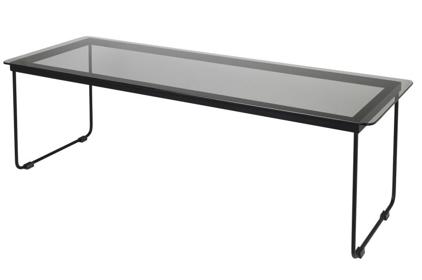 Hyben Sofabord - Sort Glas/Stål, 110x40