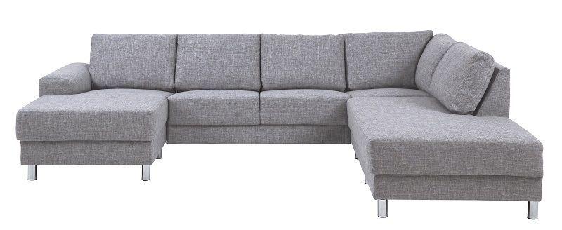 Johnston U-sofa - Grått stoff - Høyre