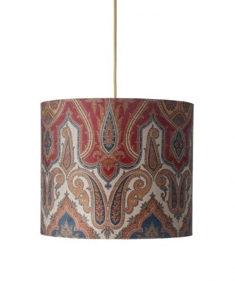 Ebb&Flow - Lampeskjerm, brocade, blue/red, Ø35, loftlampe