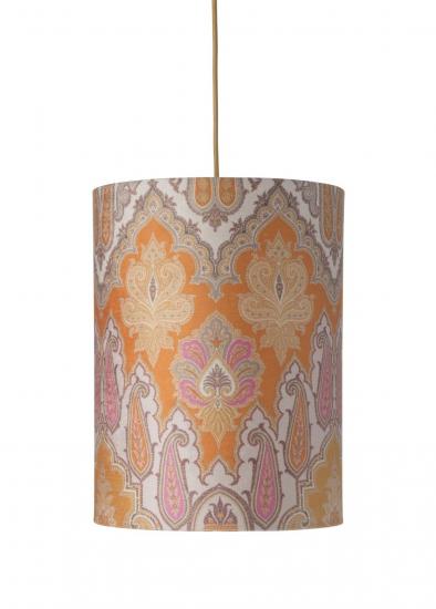 Ebb&Flow - Lampeskjerm, brocade, gul/pink, Ø30, loftlampe
