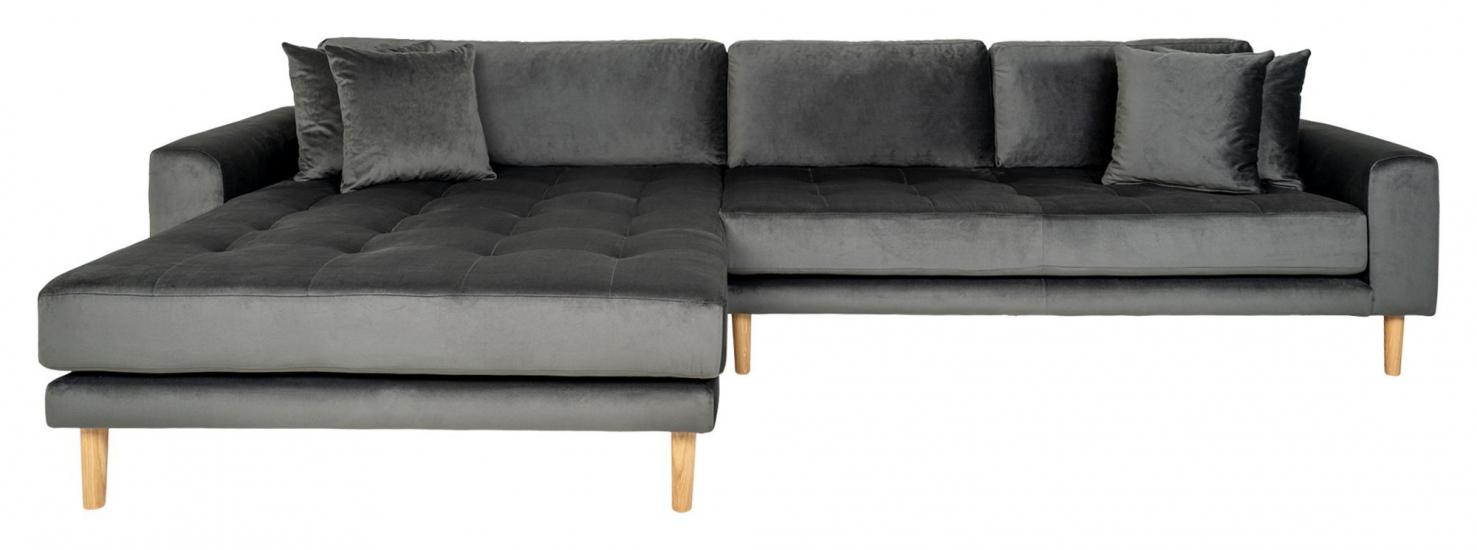 Lido Loungesofa m, Venstrevendt Sjeselong - Mørkegrå Velour