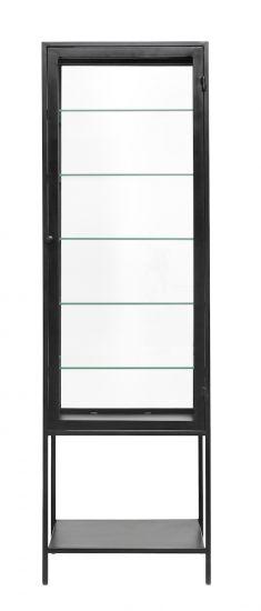 Nordal Mondo Vitrineskap - Sort Jern/Klar Glass, H198