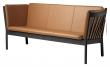 FDB Møbler J149 3-pers, Sofa - Sort Eik/Cognac Skinn