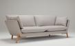 Kragelund Hasle 3-seter sofa Grå Stoff, massive eikeben