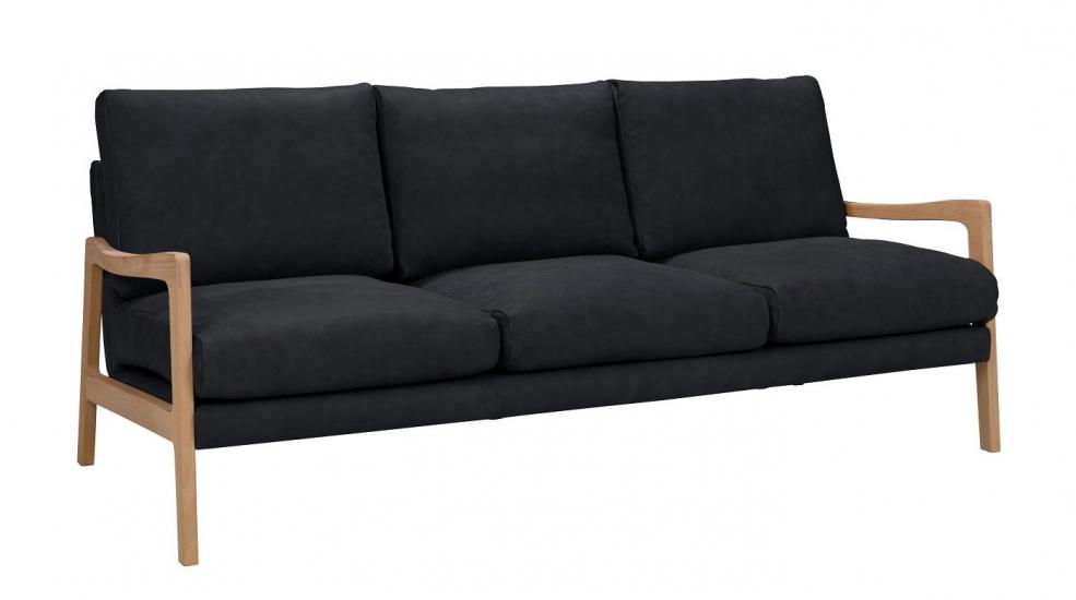 Solo 3-pers. Sofa m. ege ben - Blå Skinn