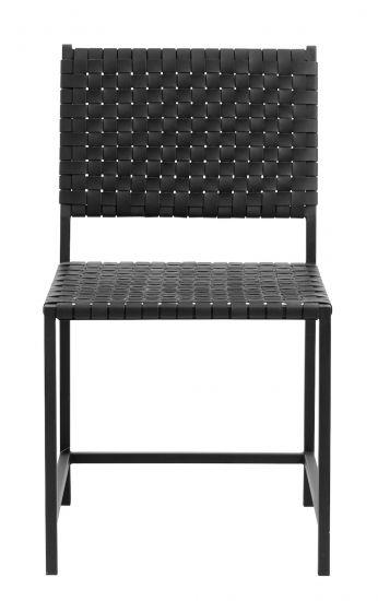 Nordal Spisebordstol m. Lærflett - Sort