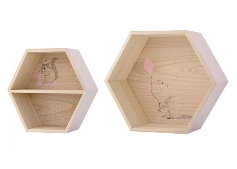Bloomingville Mini - Settekasser - Natur 6-kantede 2 stk.