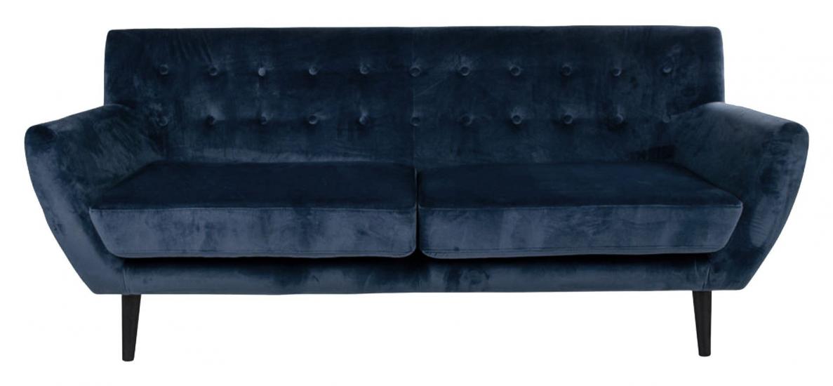 Monte 3-pers, Sofa - Mørkeblå Velour