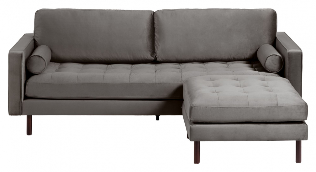 Kave Home Debra 3-pers. Sofa m. Puff - Mørk Grå Velour