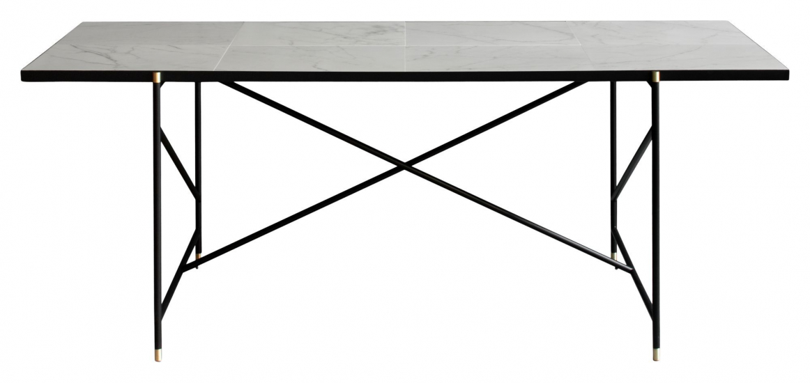 HANDVÄRK - Spisebord - Hvit Marmor m/messing ramme - 96x184