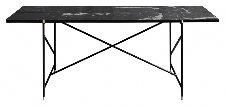 HANDVÄRK - Spisebord - Svart Marmor m/messing ramme - 96x184