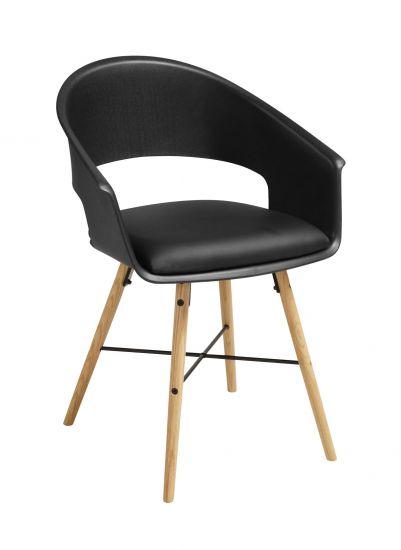 Ivar 10 Spisebordsstol m. svart sete - Natur